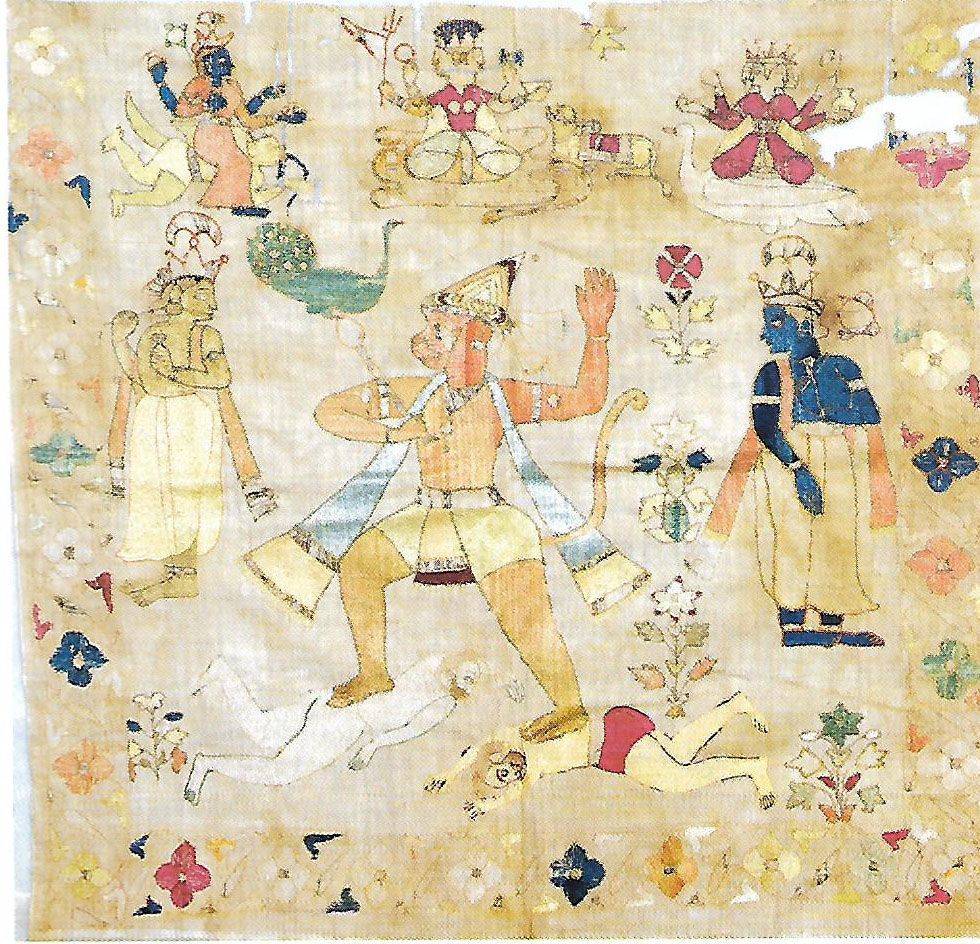 Hanuman in Pahari Embroidered Coverlets